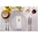 aluguel de sousplat de cristal para jantar sofisticado Jardim Marajoara