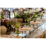 aluguel de utensílios de mesa para jantar de casamento Jardim Marajoara